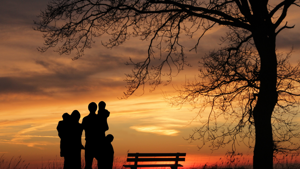 Stay happy on social media be being friends with people you know in person. Silhouette of a family watching a sunset near a park bench and tree.