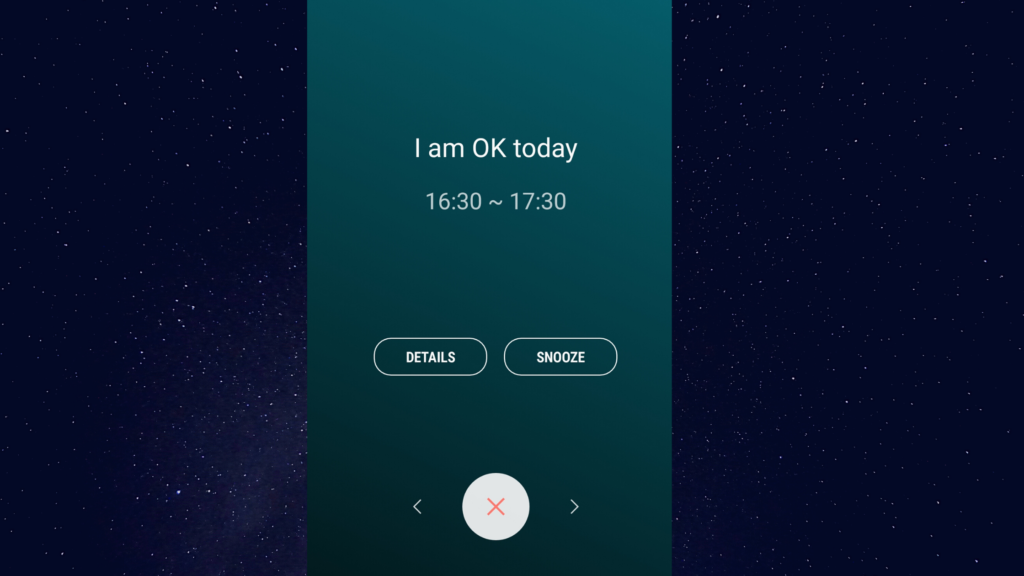 "5 of 15 ways your phone can make you happy. You can use your phone to make yourself happy by setting positive notifications for yourself in your calendar. Screenshot of a calendar notification saying ""I am OK today""."
